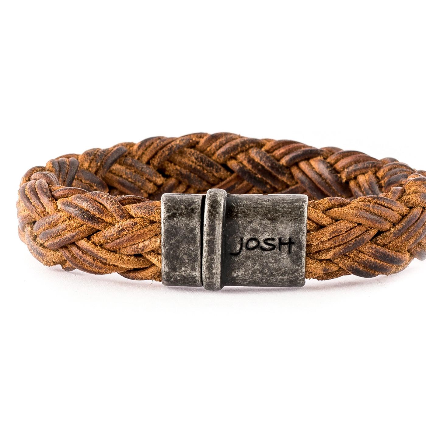 Josh Vintage Black/Cognac Armband 09175-BRA-VB/COGNAC (Lengte: 20.50-22.50 cm)