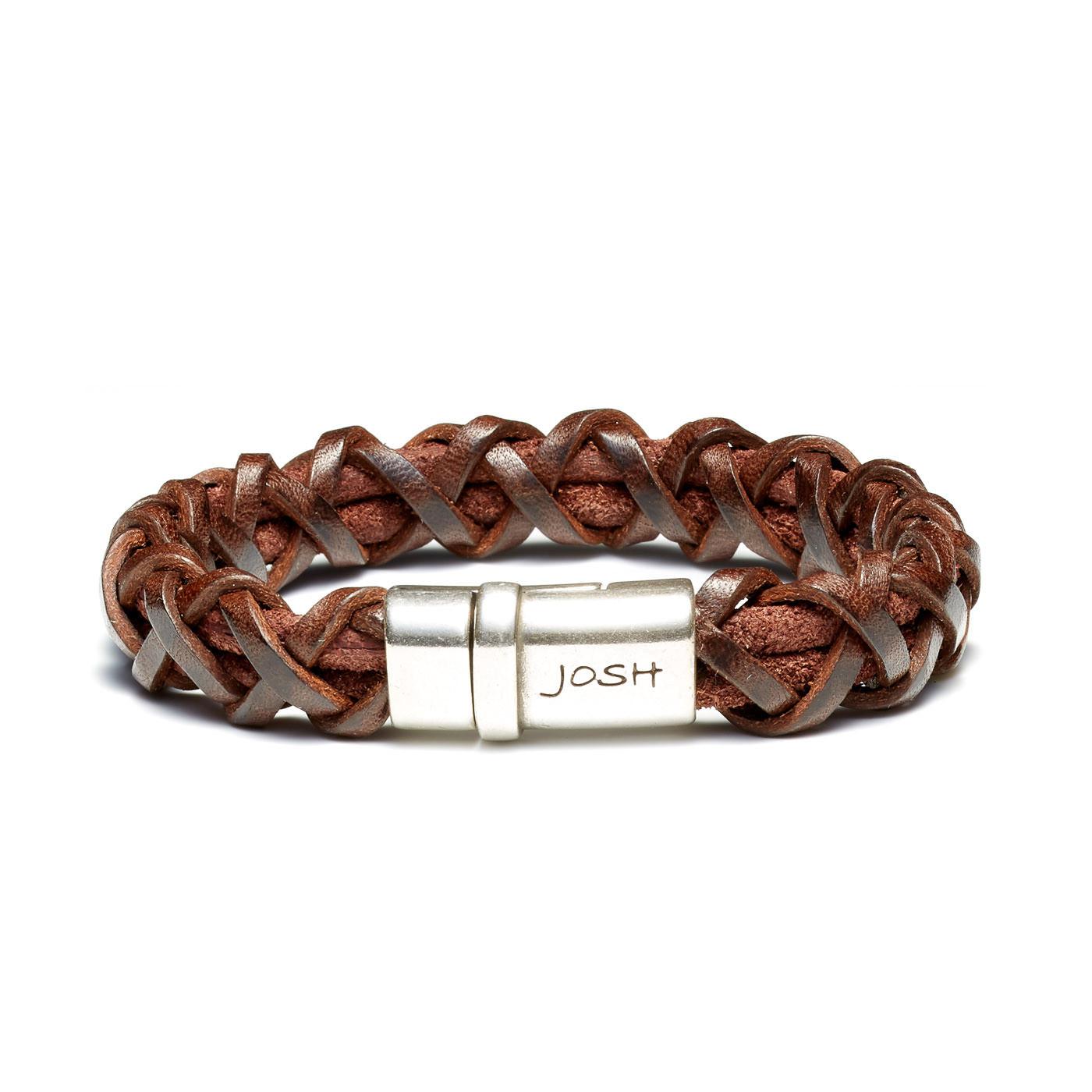 Josh Vintage Brown Armband 09194-BRA-S/BROWN (Lengte: 20.50-22.50 cm)