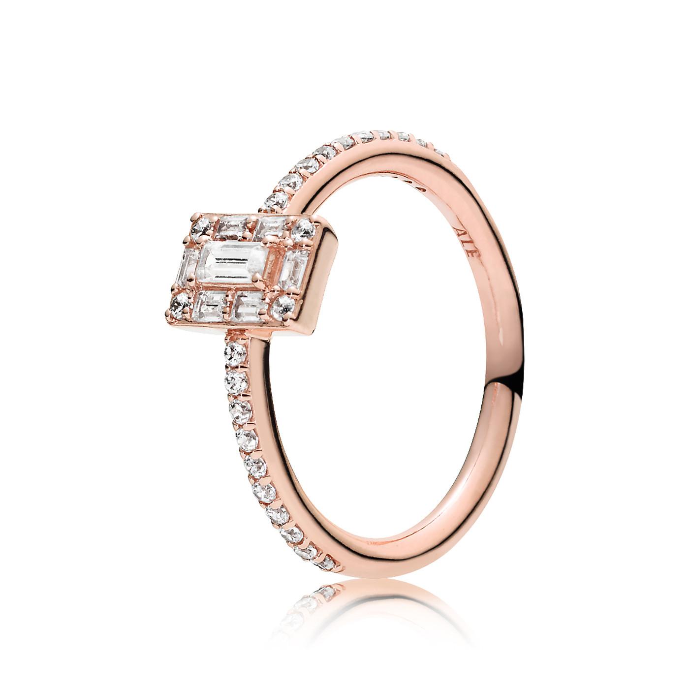 Pandora 925 Sterling Zilveren Ice Cube Rosegoudkleurige Ring 187541CZ
