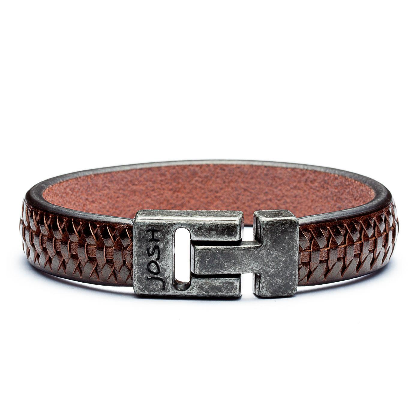 Josh Vintage Black Brown Armband 24535-BRA-VB-BROWN (Lengte: 20-22 cm)