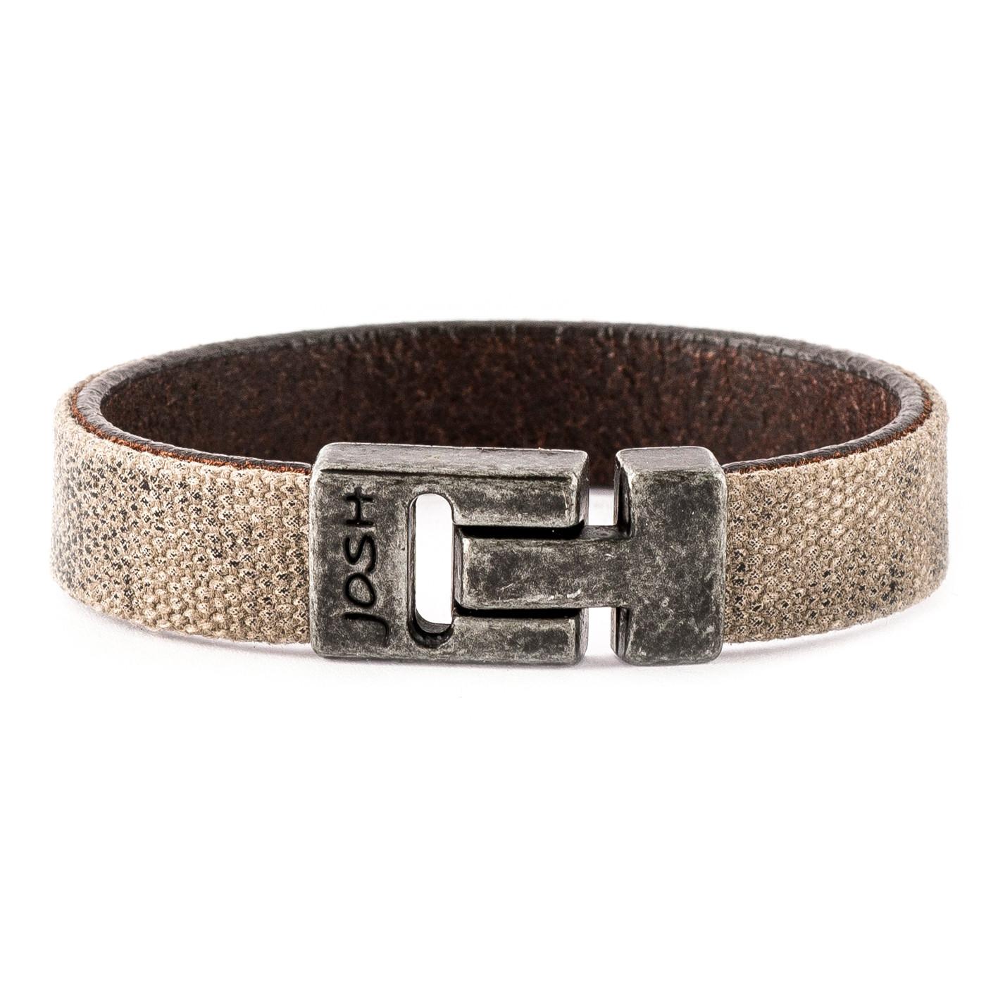 Josh Vintage Black/Beige Armband 24784-BRA-VB/BEIGE (Lengte: 20.50-22.50 cm)
