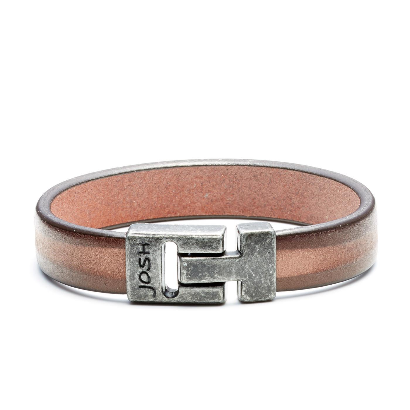 Josh Vintage Black/Brown Armband 24798-BRA-VB/BROWN (Lengte: 20.50-22.50 cm)
