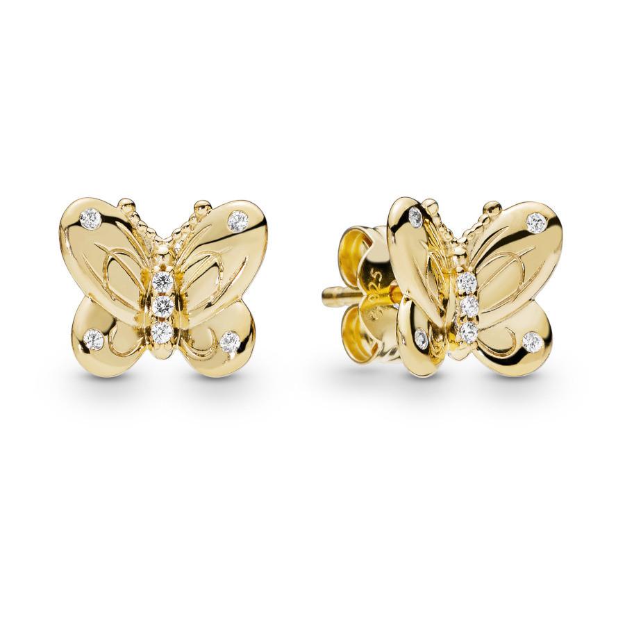 Pandora Stories 925 Sterling Zilveren Goudkleurige Butterfly Shine Oorbellen 267921CZ