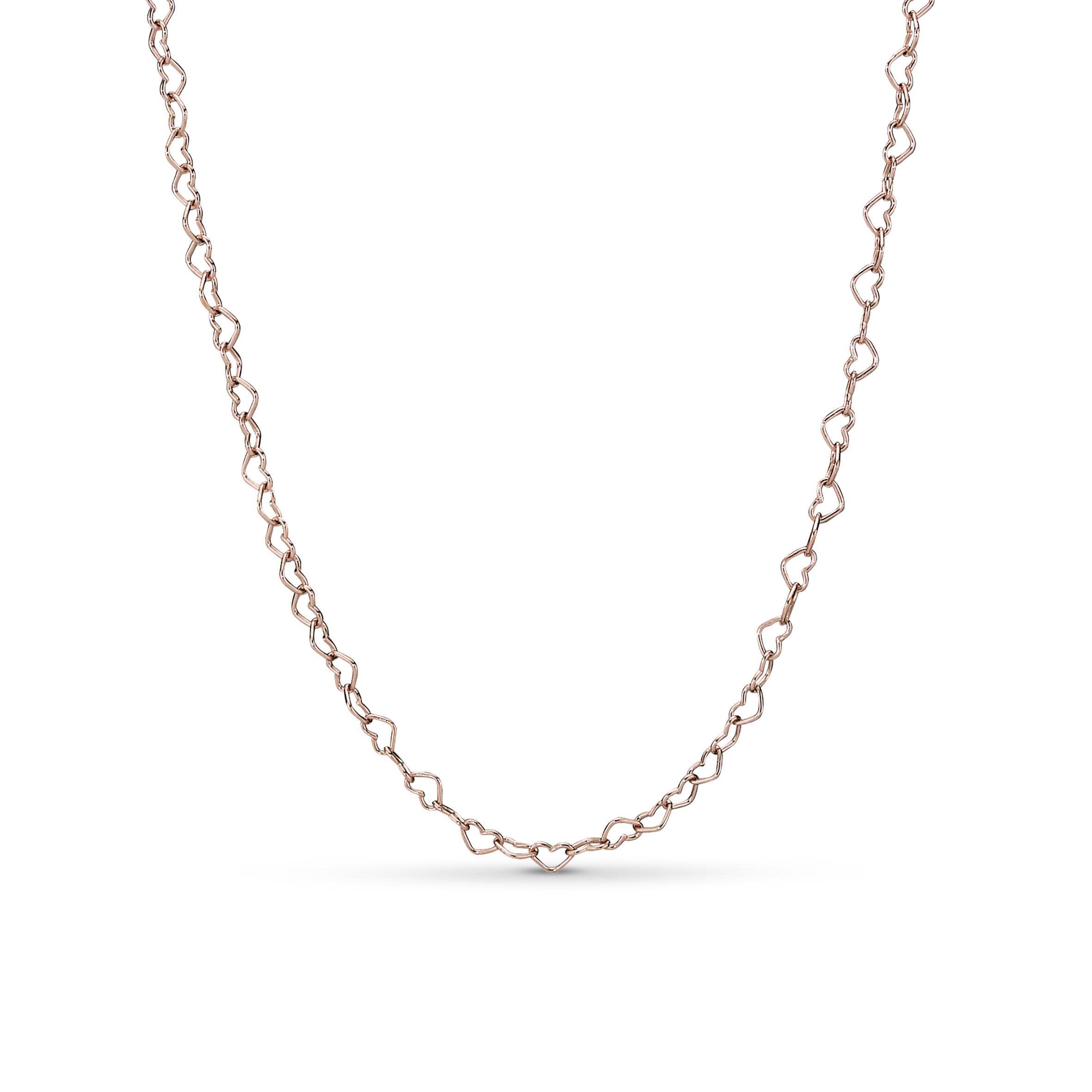 Pandora Stories 925 Sterling Zilveren Rosegoudkleurige Joine Hearts Ketting 387961-60 (Lengte: 60.00 cm)