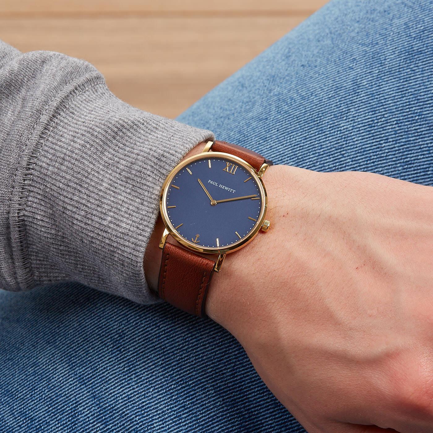 Paul Hewitt Sailor Line Blue Lagoon Leather horloge PH-SA-G-ST-B-1M