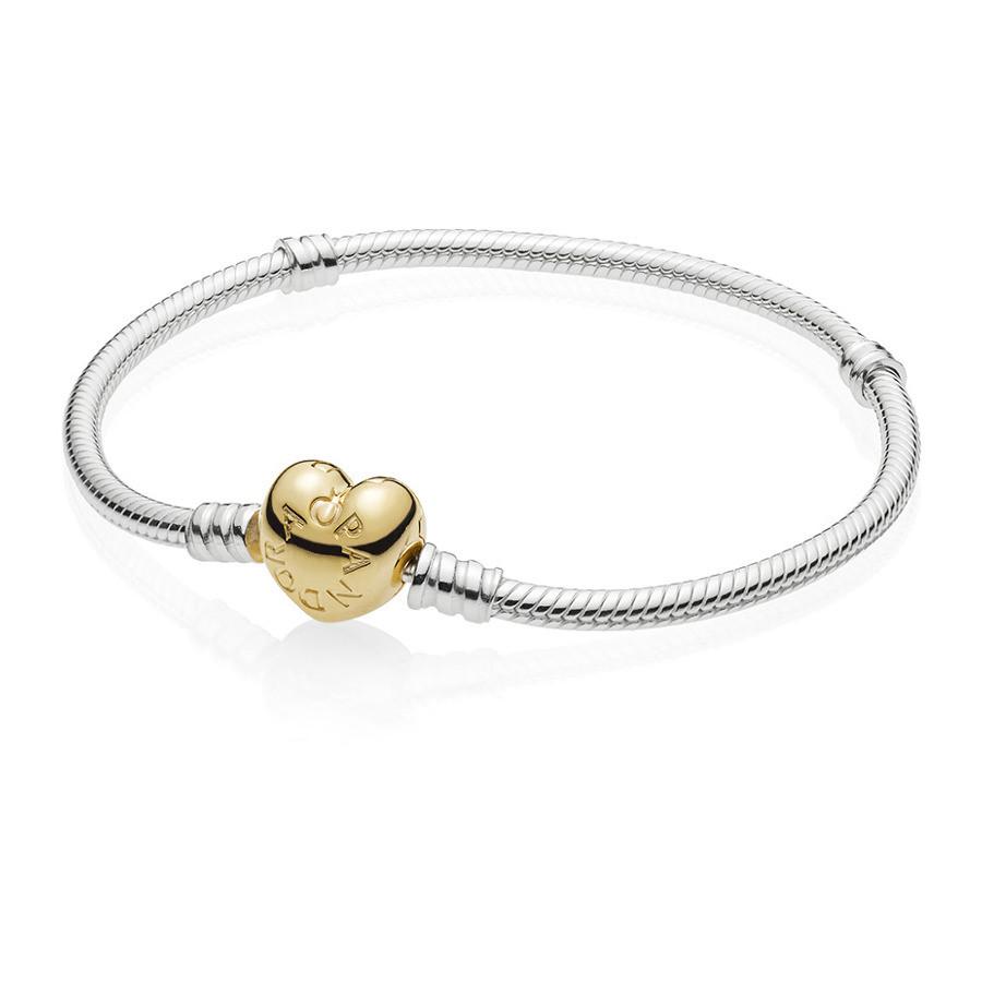 Pandora 925 Sterling Zilveren Heart Shaped Shine Armband 560719 (Lengte: 17.00-20.00 cm)