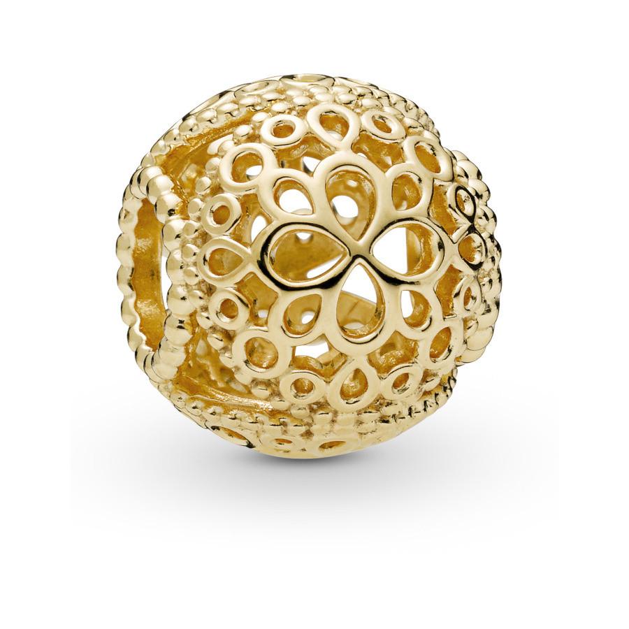 Pandora Moments 925 Sterling Zilveren Goudkleurige Flower Shine Bedel 767853
