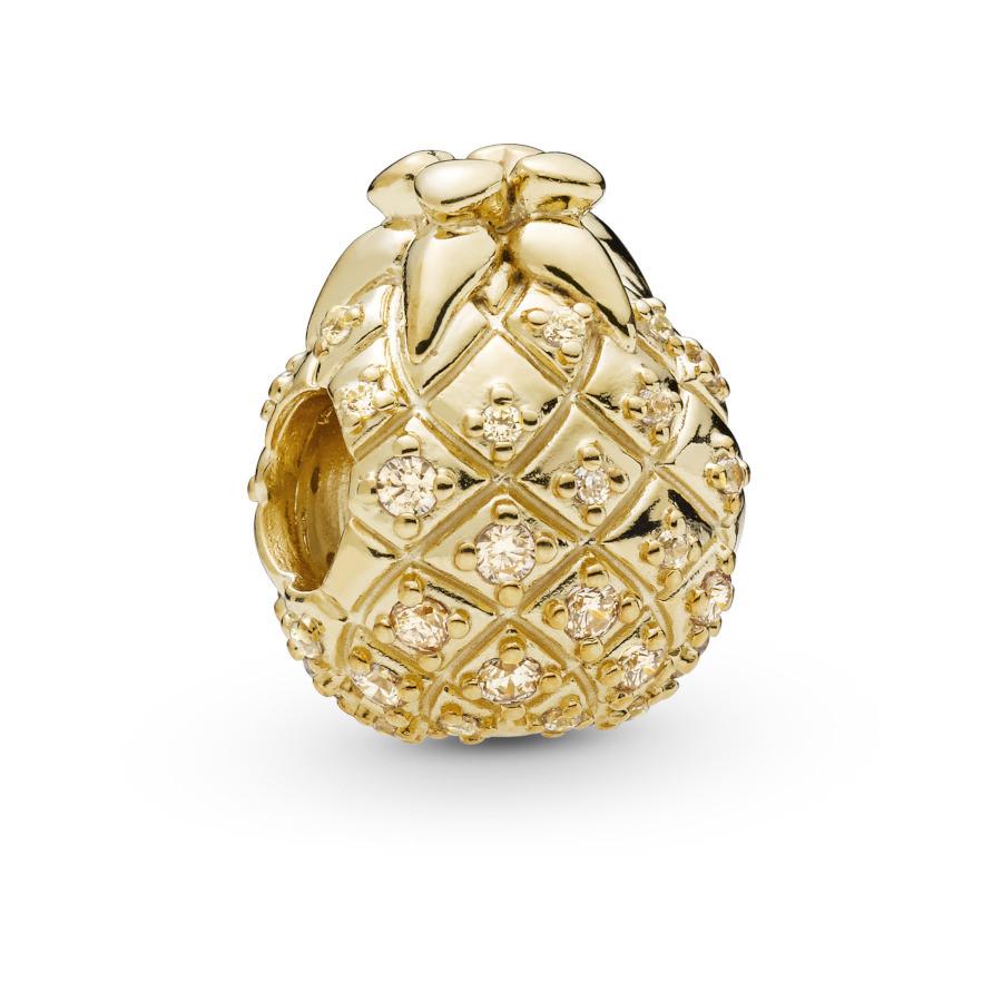Pandora Moments 925 Sterling Zilveren Goudkleurige Pineapple Shine Bedel 767904CCZ
