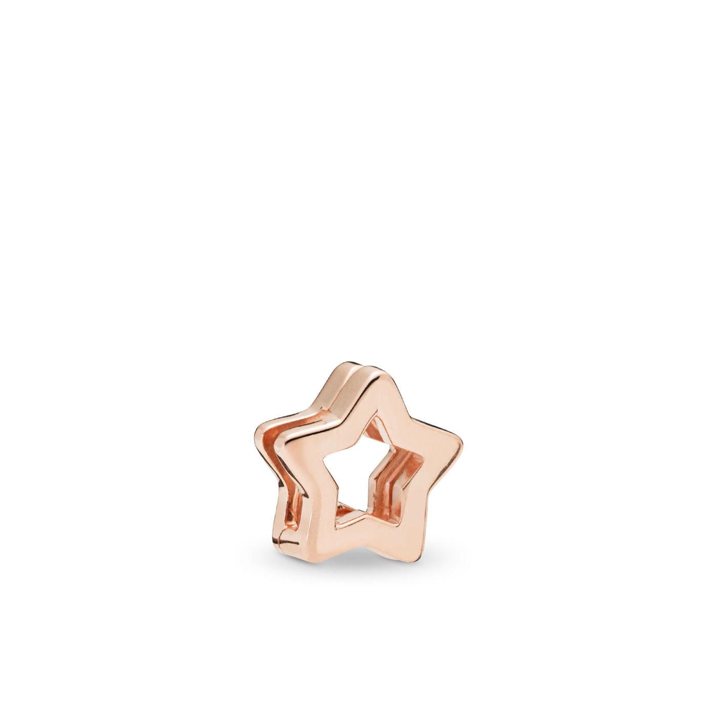 Pandora Reflexions 925 Sterling Zilveren Roségoudkleurige Star Clip Bedel 787544