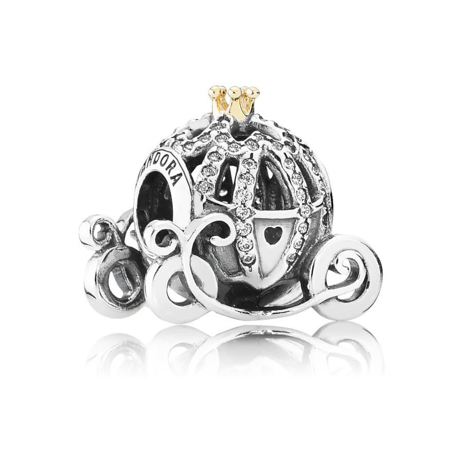 Pandora 925 Sterling Zilveren Disney Cinderella Pumpkin Bedel 791573CZ