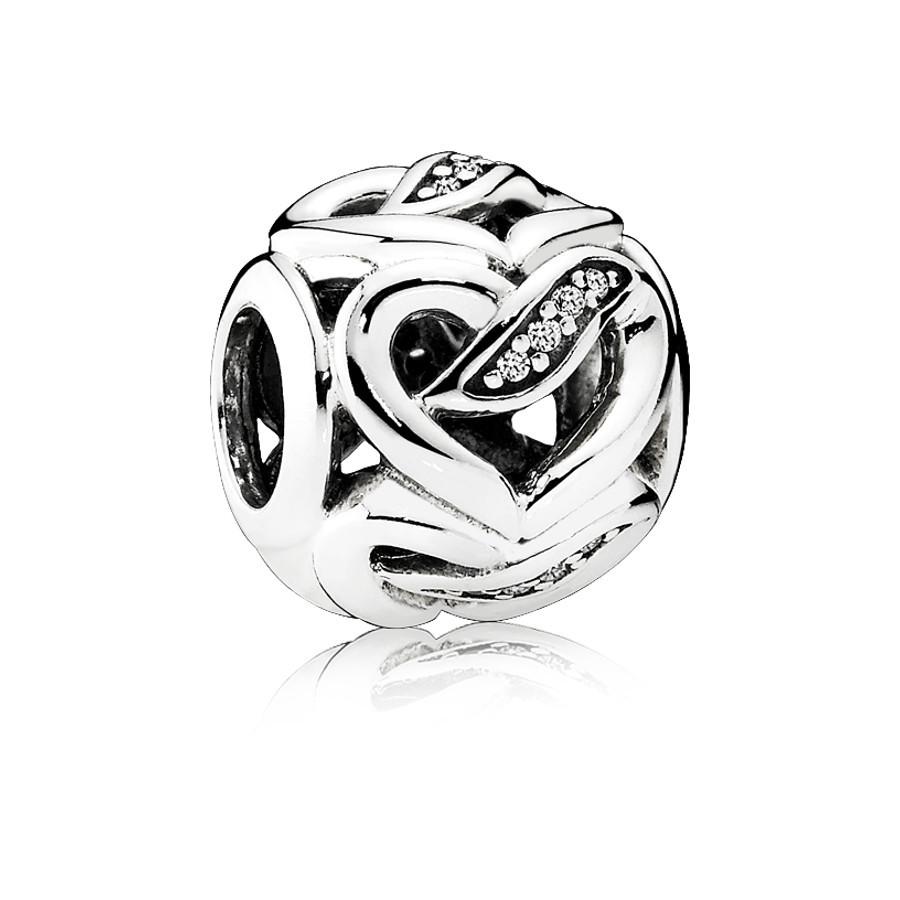 Pandora Zilveren Ribbon Heart Bedel 792046CZ