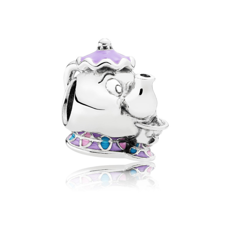 Pandora 925 Sterling Zilveren Disney Mrs. Potts and Chip Bedel 792141ENMX