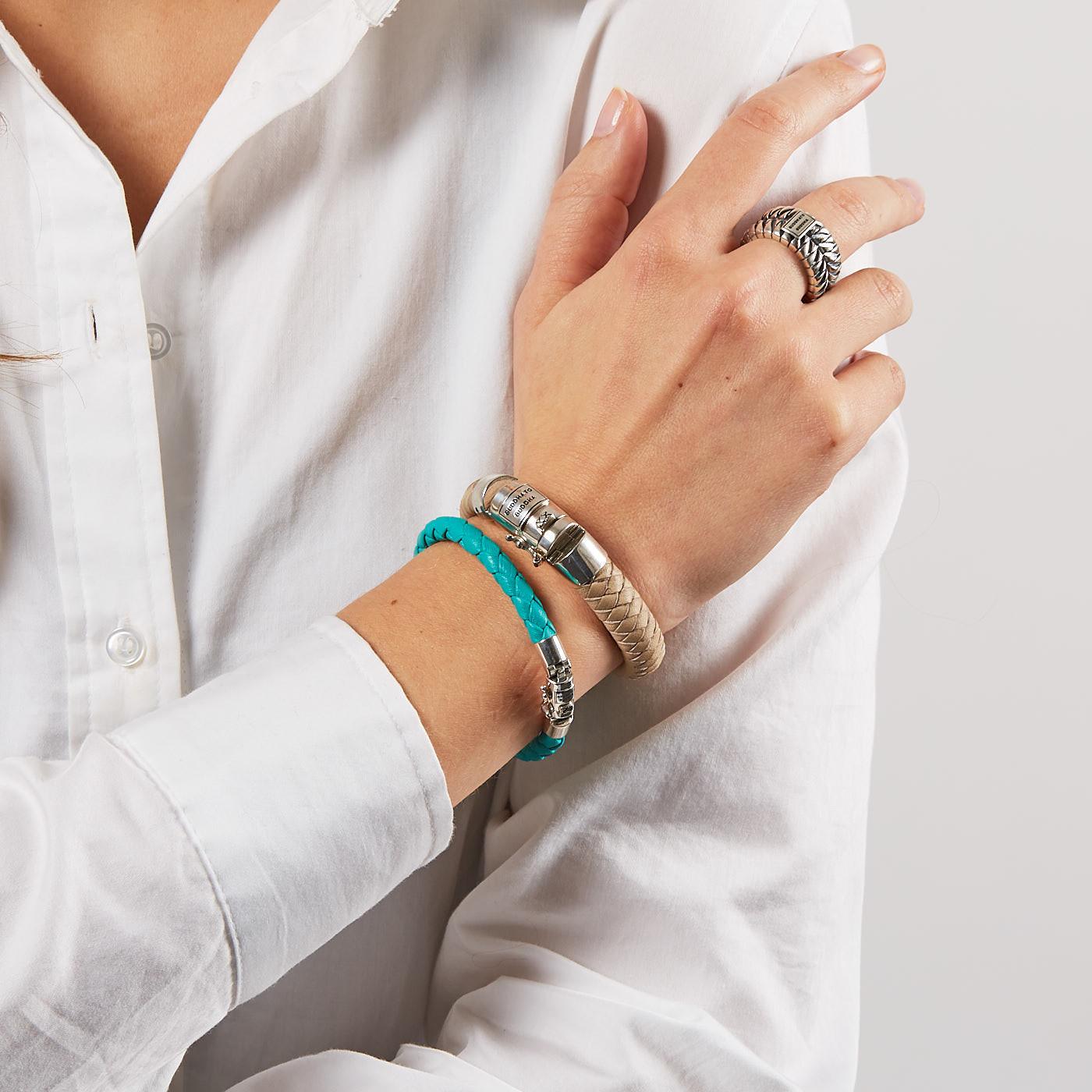 Buddha To Buddha Armband Blauw.Buddha To Buddha 925 Sterling Zilveren Ben Xs Round Leather Aqua Armband J545aq Lengte 17 00 23 00 Cm