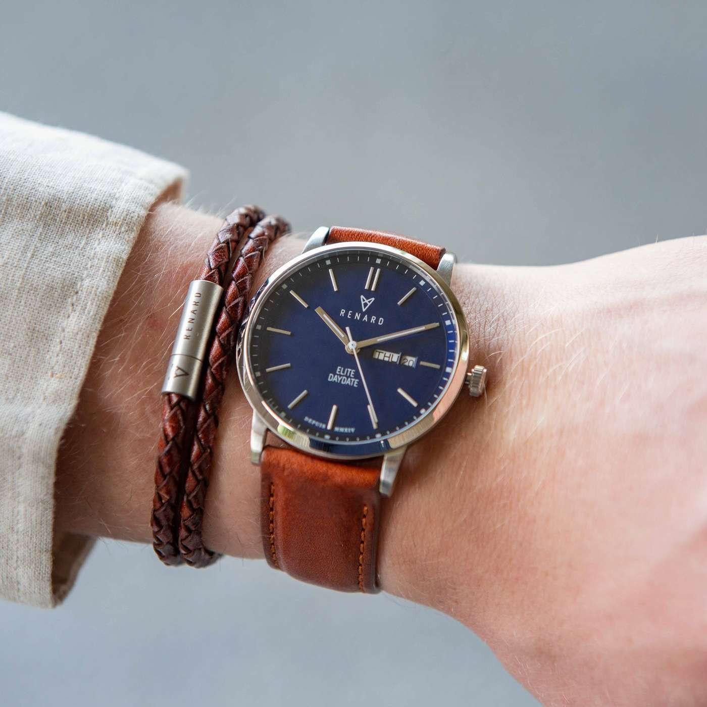 Renard Elite Day Date Blue Pecan horloge RD381SS40PCN
