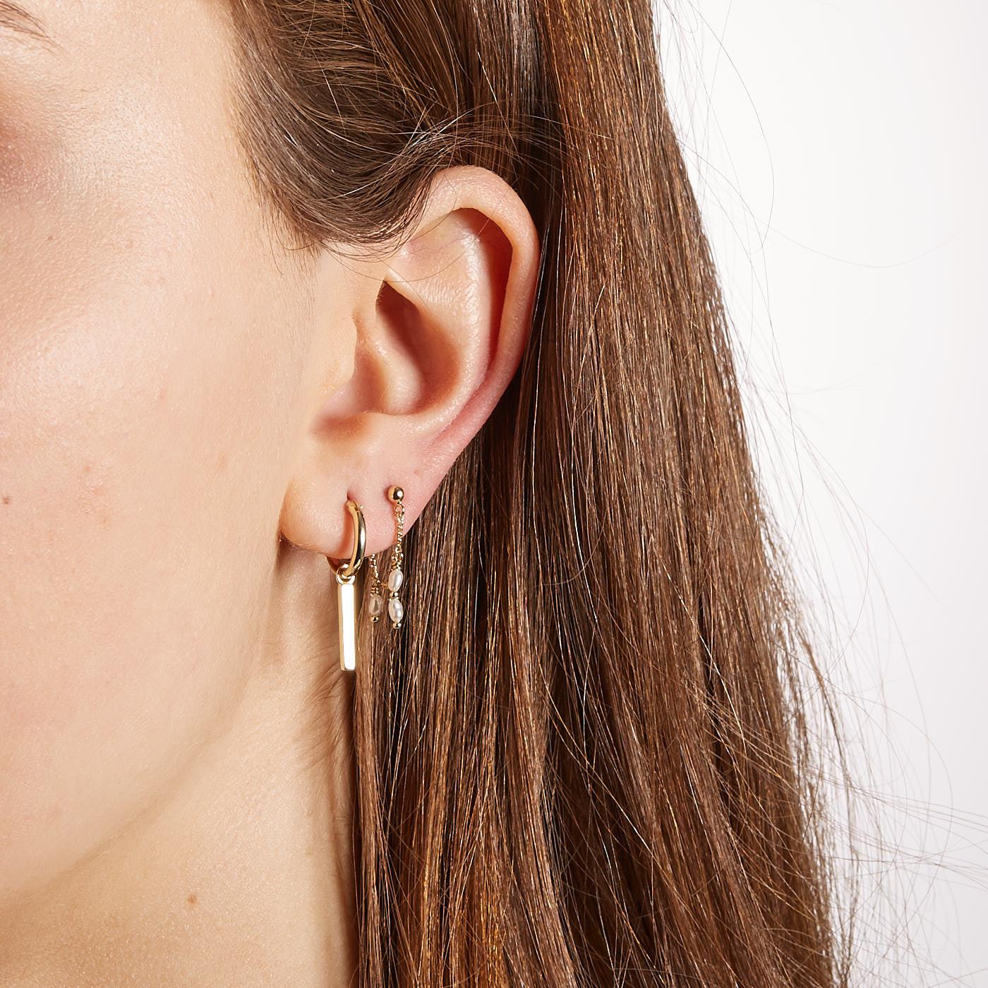 ANNA + NINA 925 Sterling Zilveren Essentials Ingot Medium Goudkleurige Oorbellen 011612GP0000
