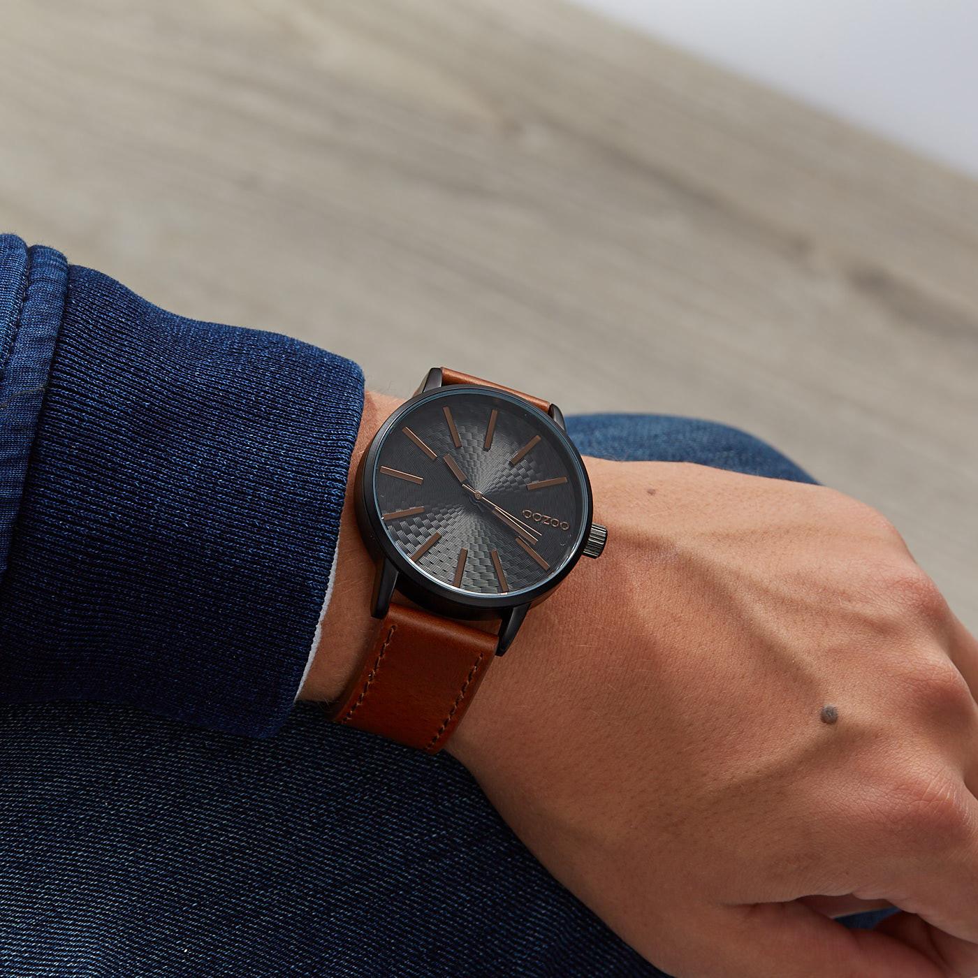 OOZOO Timepieces Bruin/Zwart horloge C9607 (45 mm)