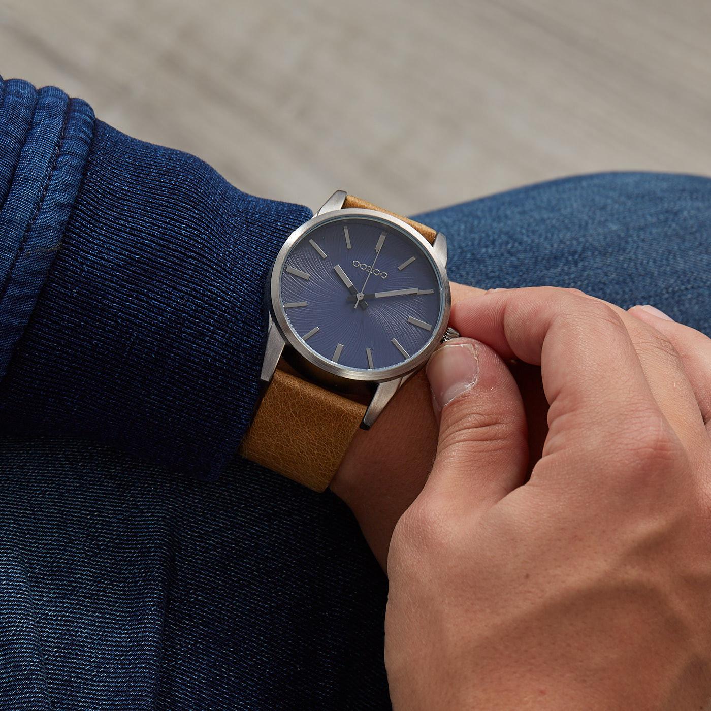 OOZOO Timepieces Camel/Blauw horloge C9625 (45 mm)