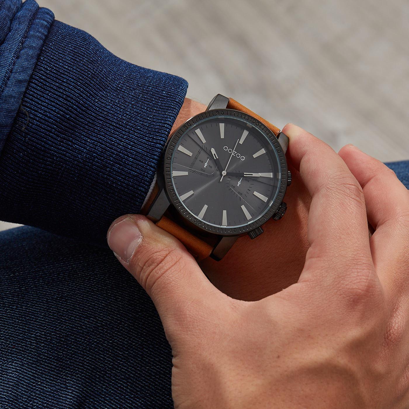OOZOO Timepieces Bruin/Zwart horloge C9647 (50 mm)