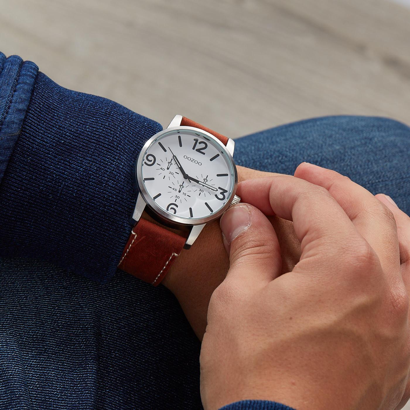 OOZOO Timepieces Bruin/Wit horloge C9650 (45 mm)