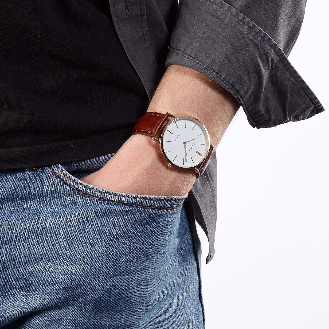 OOZOO Vintage Bruin/Wit horloge C9831 (40 mm)