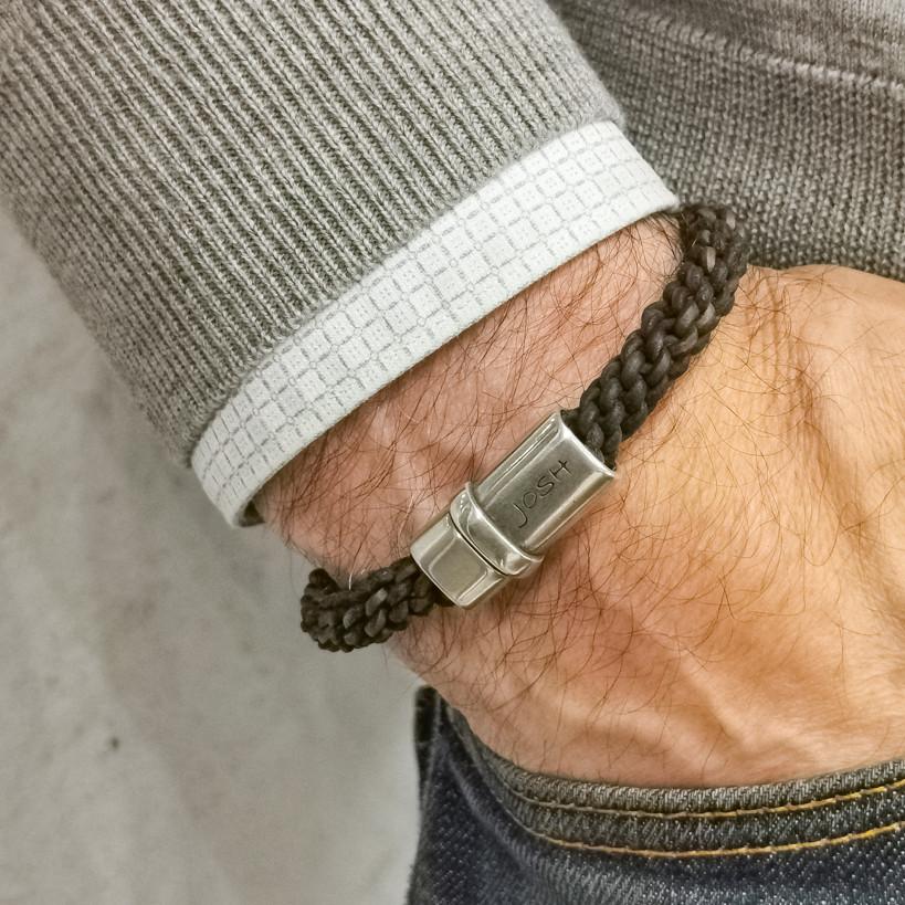 Josh Silver Brown Armband 09085-BRA-S/BROWN (Lengte: 19.50-21.50 cm)
