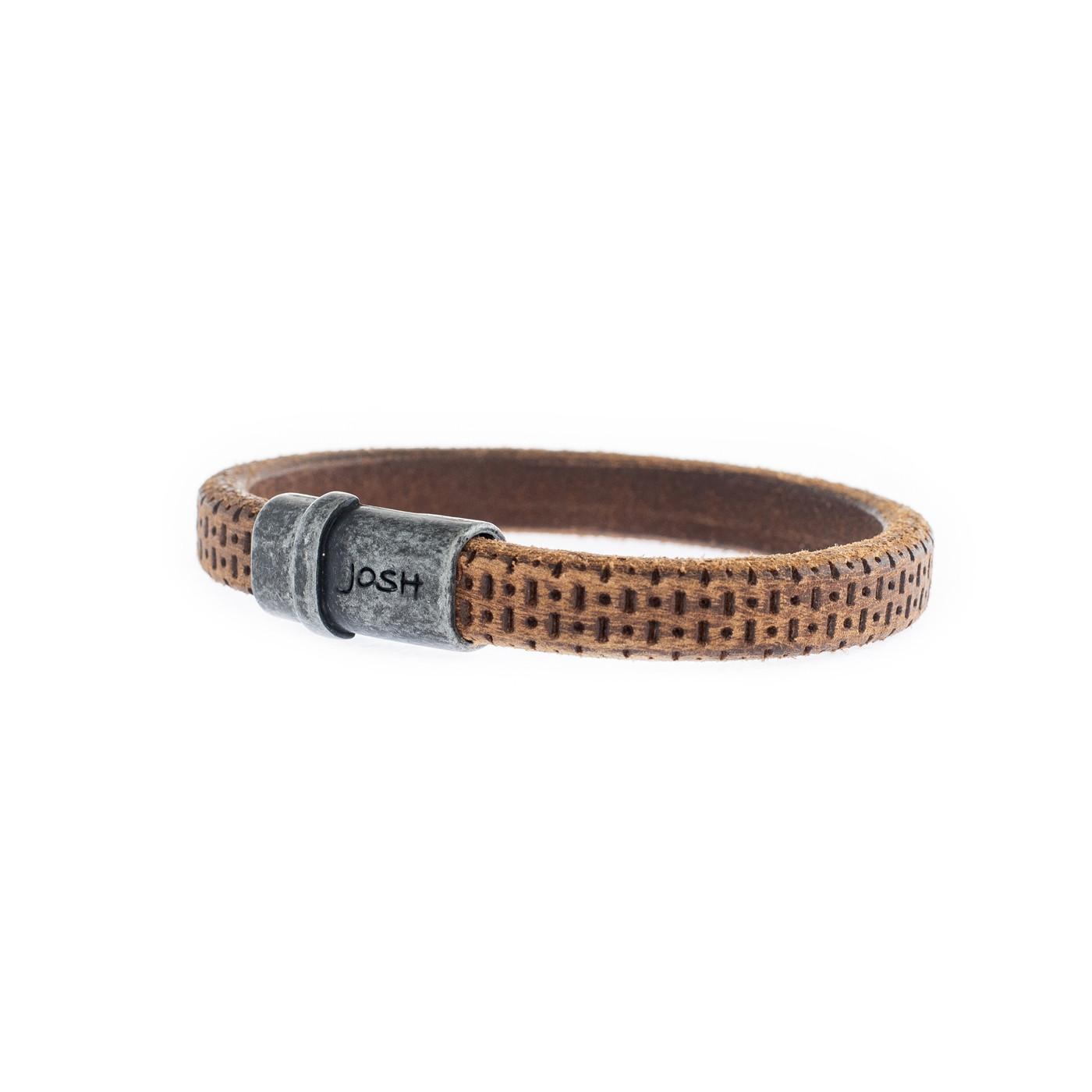 Josh Vintage Black-Cognac Armband 9205-VB-COGNAC (Lengte: 21.00-23.00 cm)
