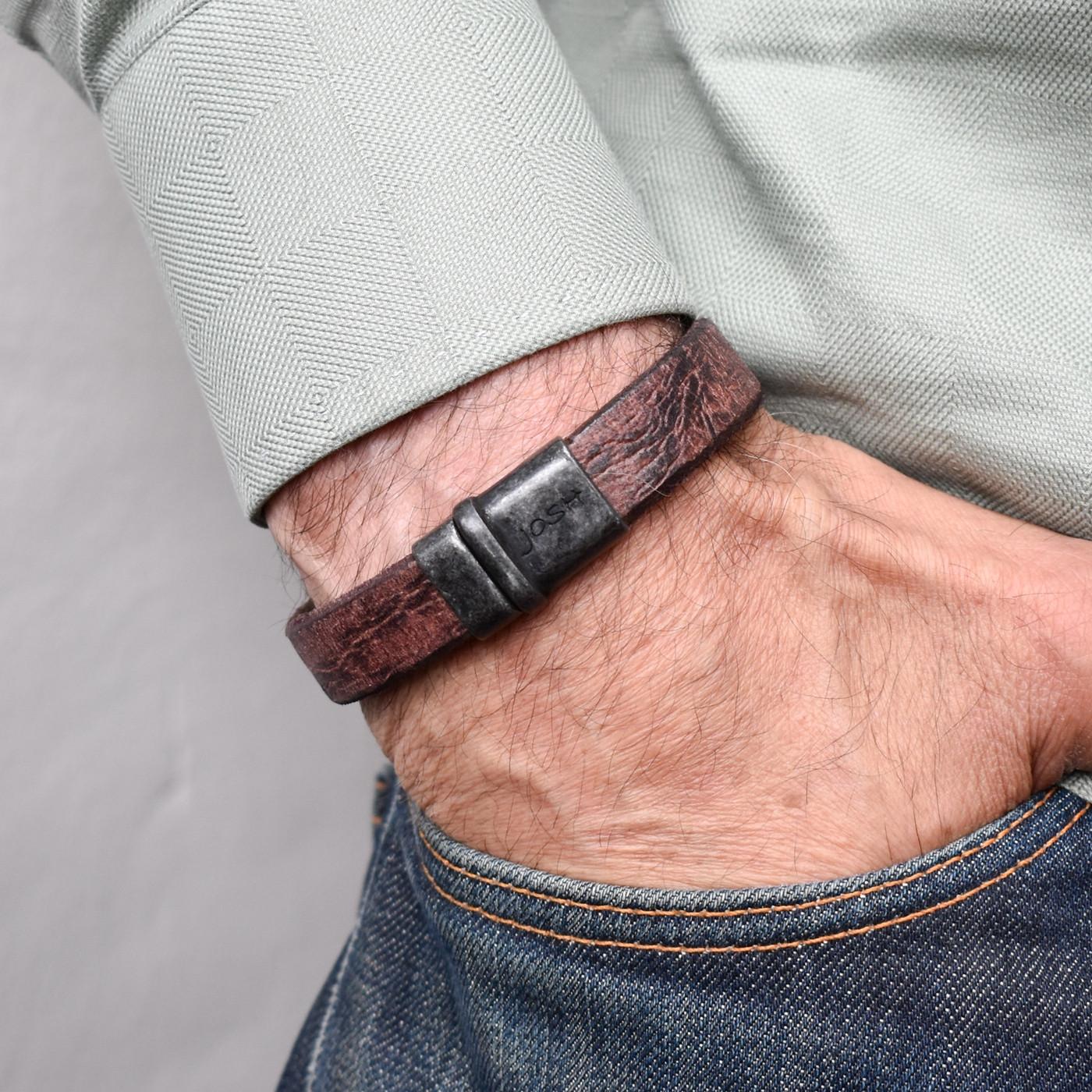 Josh Vintage Black/Brown Armband 09237-VB/BROWN (Lengte: 20.50-22.50 cm)