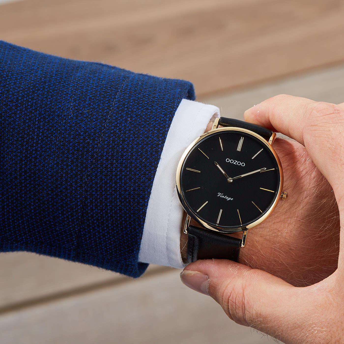 34071a9288b OOZOO Vintage Zwart horloge C8899 (44 mm)