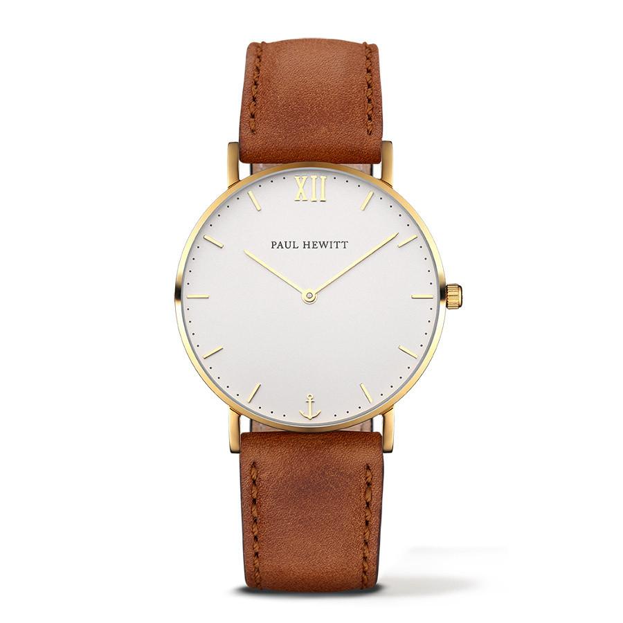 Paul Hewitt Sailor Line Gold/White Sand Leather horloge PH-SA-G-ST-W-1S