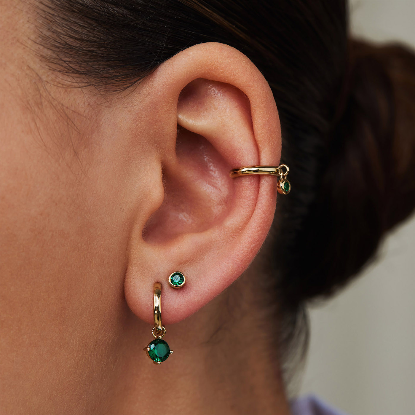 Violet Hamden Venus 925 Sterling Zilveren Goudkleurige Ear Cuff Met Geboortesteen VH370002 (JAN-DEC)