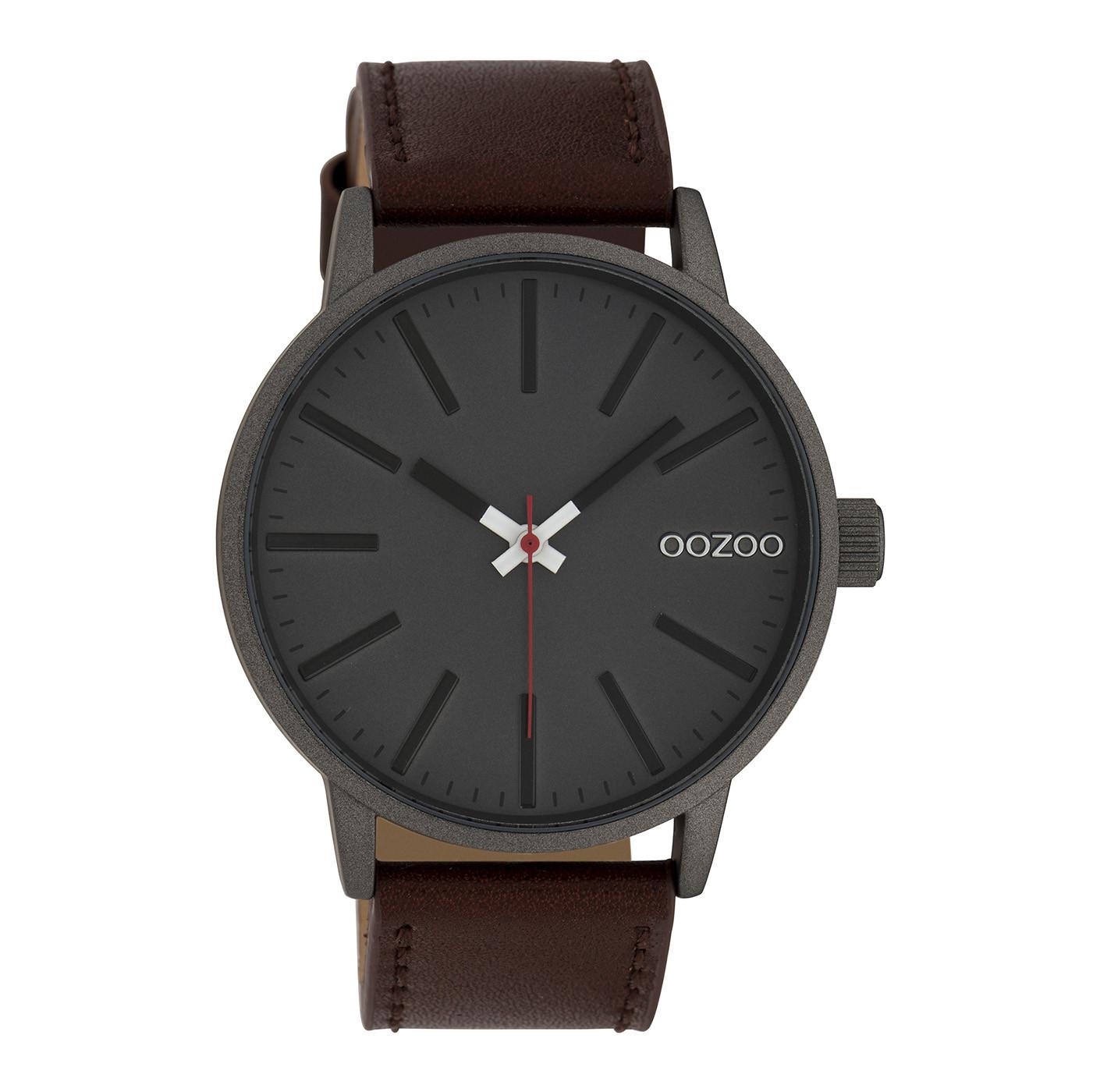 OOZOO Timepieces Cognac/Grijs horloge C10011 (45 mm)