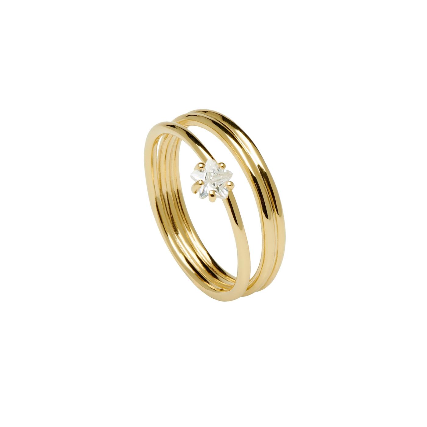 P D Paola 925 Sterling Zilveren Goudkleurige Glow Ring AN01-098