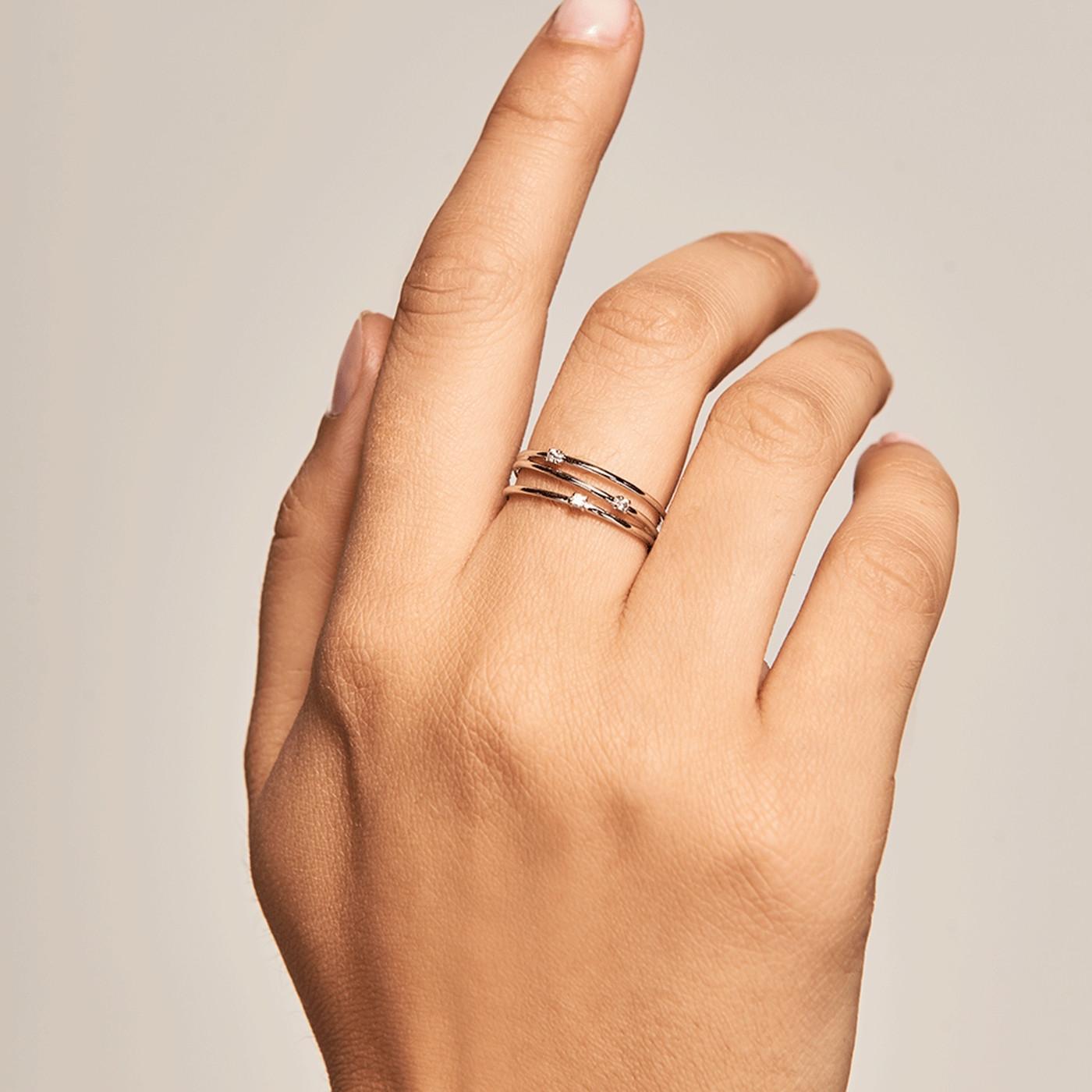 P D Paola 925 Sterling Zilveren Goudkleurige Daze Ring AN01-120
