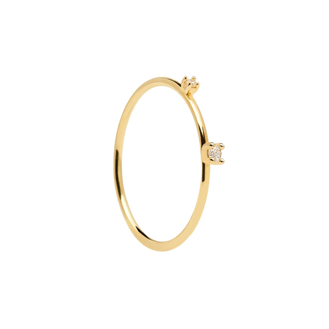 P D Paola 925 Sterling Zilveren Goudkleurige L'Esseentiel Kita Ring AN01-126