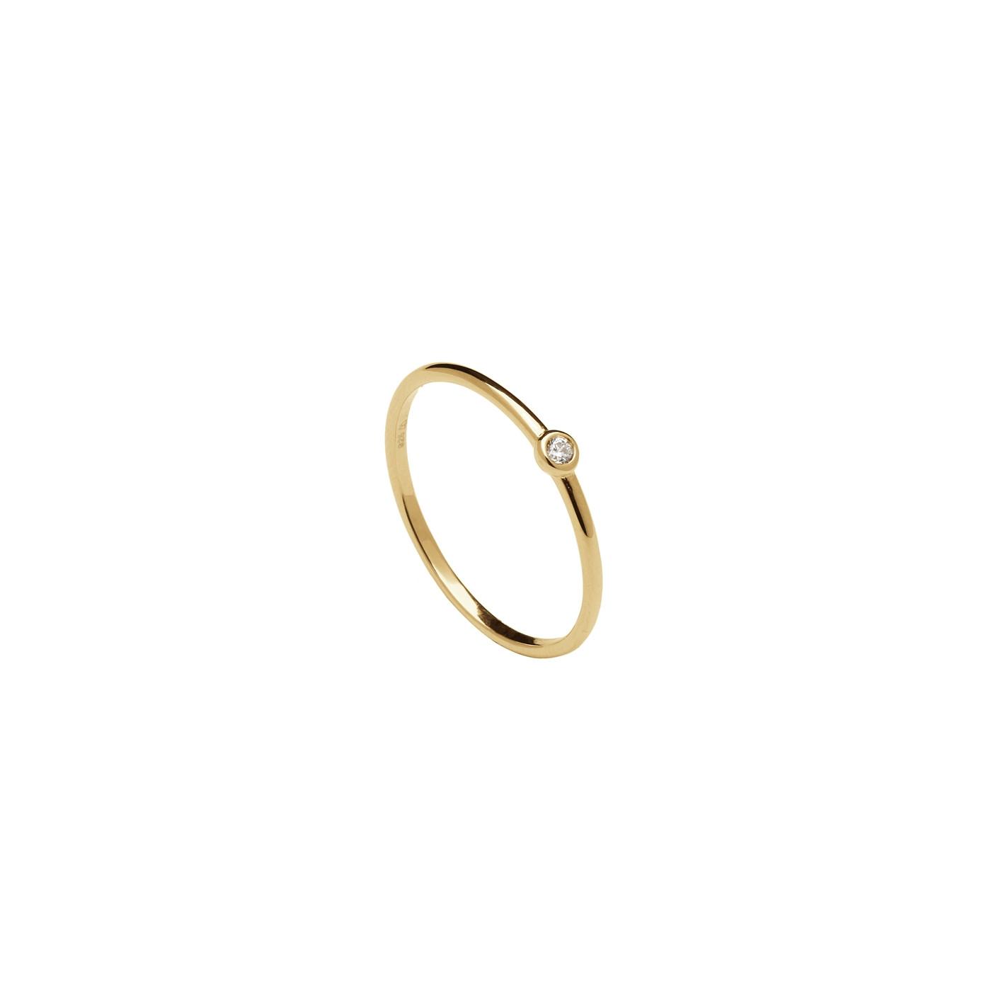 P D Paola 925 Sterling Zilveren Goudkleurige Essentials Ring AN01-029