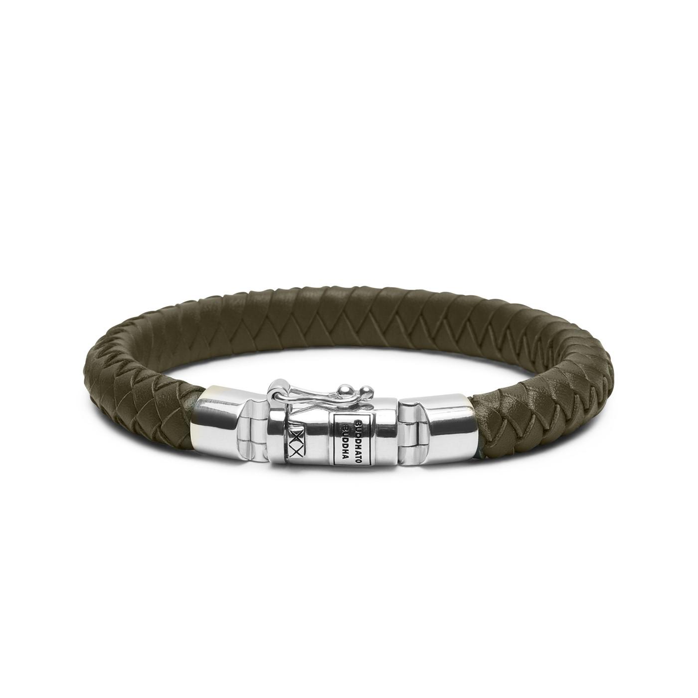 Buddha to Buddha Ben Small Leather Olive Armband 180OL (Lengte: 18.00-23.00 cm)