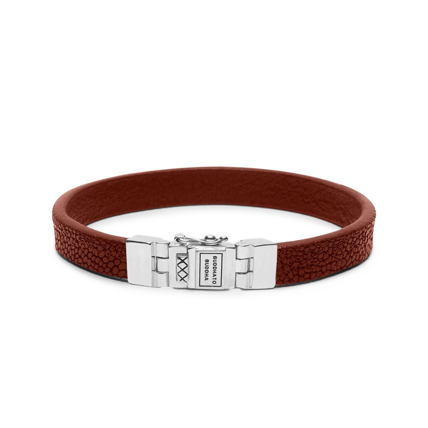 Buddha to Buddha Essential Leather Texture Cognac Armband 186CO (Lengte: 18.00-23.00 cm)