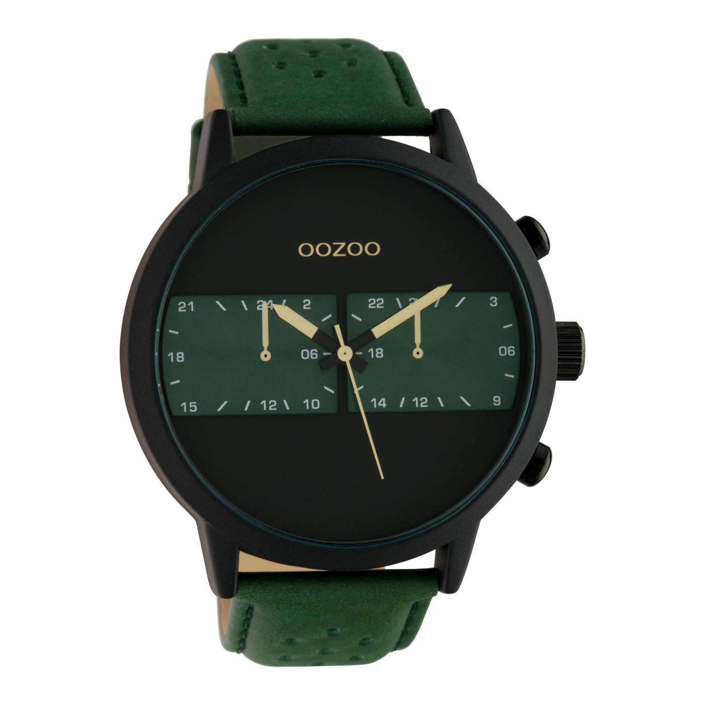 OOZOO Timepieces Groen/Zwart horloge C10300 (50 mm)