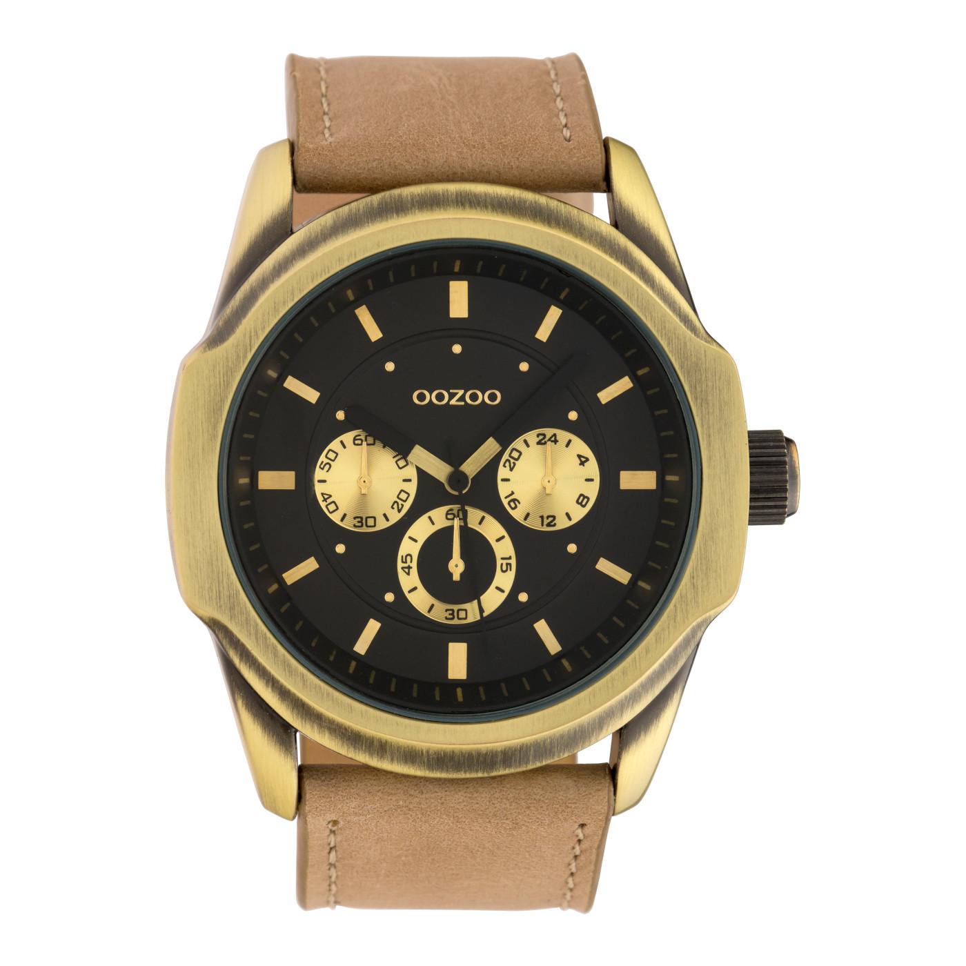 OOZOO Timepieces Camel/Zwart horloge C10318 (48 mm)