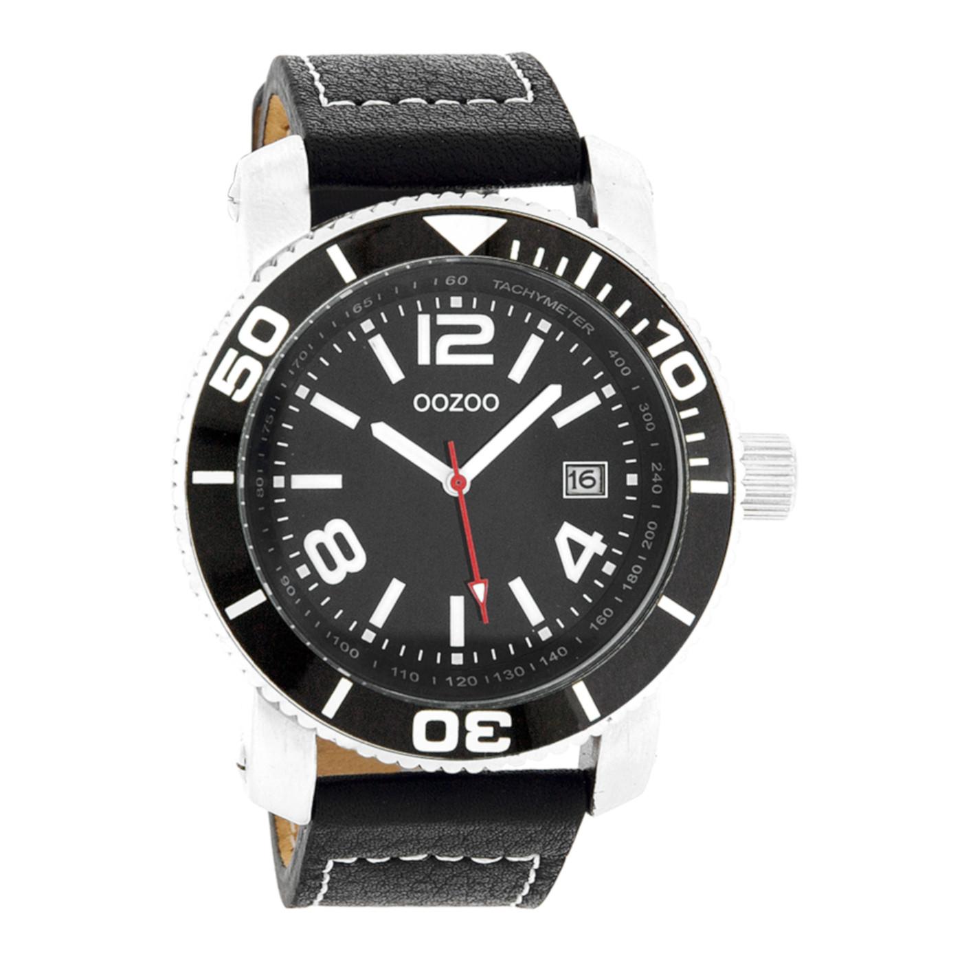 OOZOO Timepieces Zwart/Zilverkleurig  horloge C2594 (45 mm)