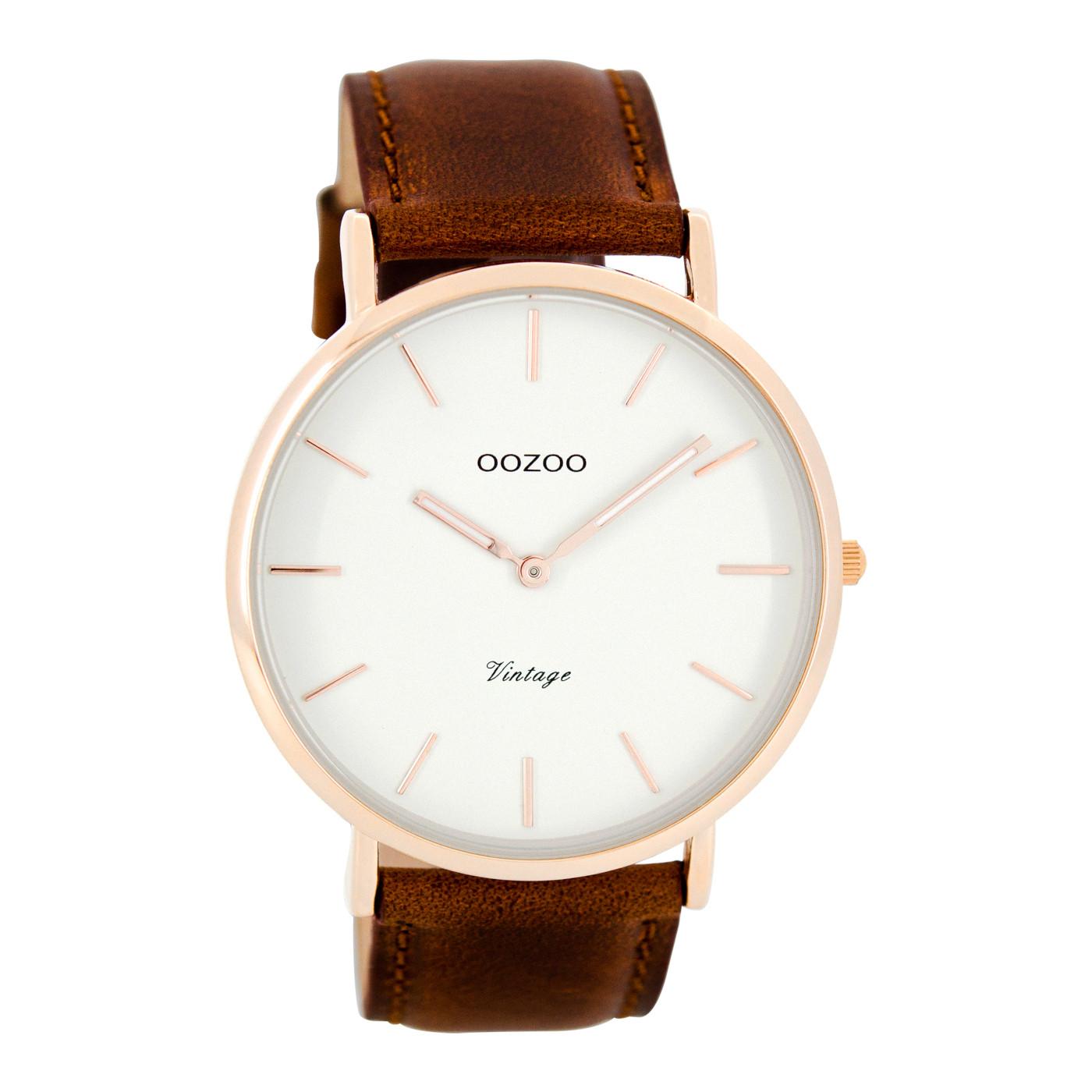 238b430f432 OOZOO Vintage horloge Bruin/Wit C7756 (44 mm)