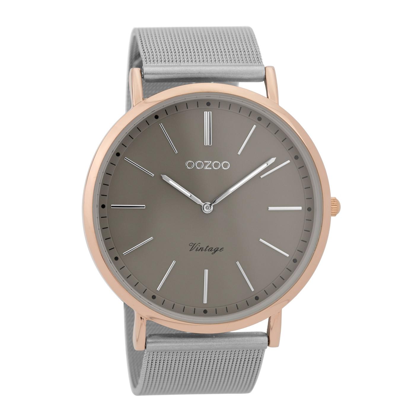 2b83c028862 OOZOO Vintage Zilverkleurig/Donkergrijs horloge C9356 (44 mm)