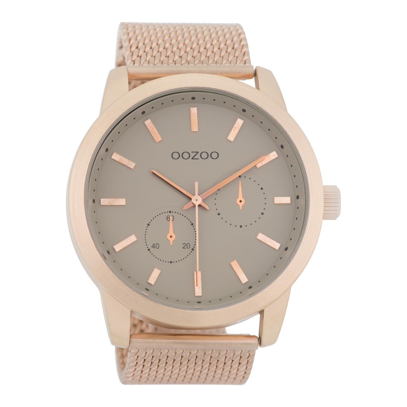 OOZOO Timepieces Rosegoudkleurig/Taupe horloge C9662 (47 mm)