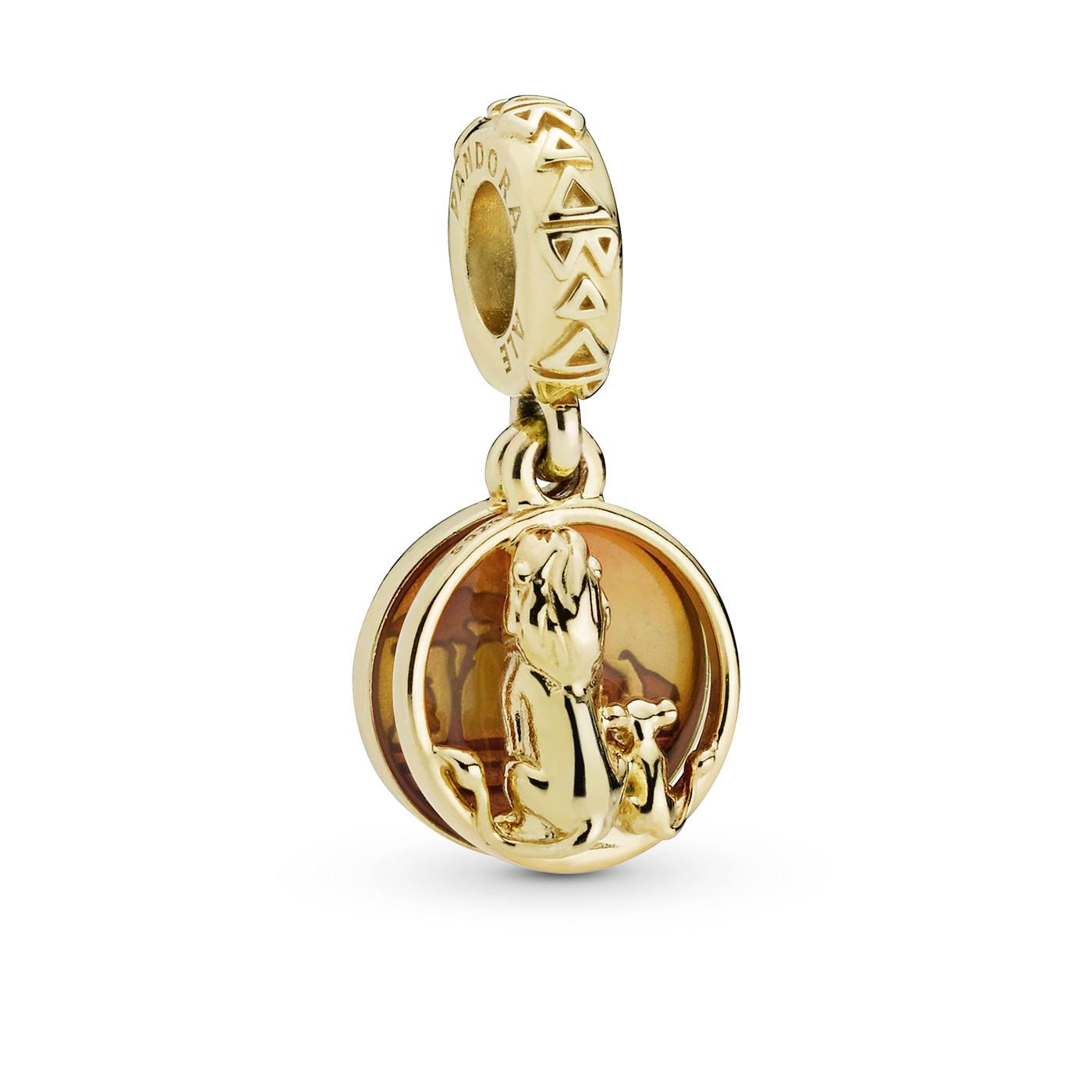 Pandora Moments 925 Sterling Zilveren Goudkleurige Disney Simba and Mufasa Bedel 768262ENMX