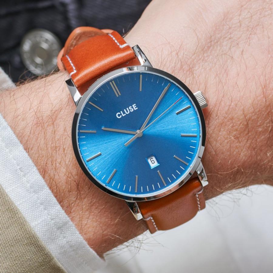 CLUSE Aravis Zilverkleurig/Brown horloge CW0101501005