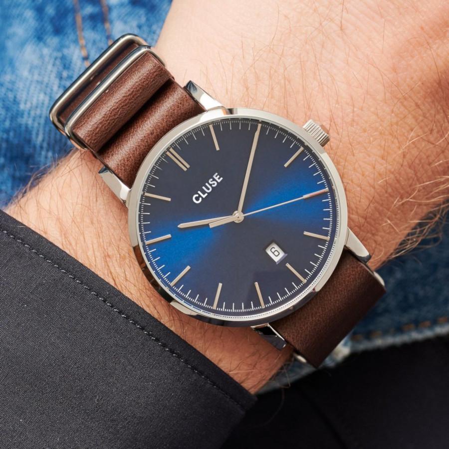 CLUSE Aravis Zilverkleurig/Brown horloge CW0101501008