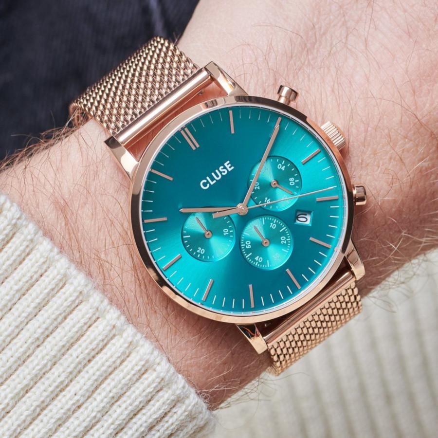 CLUSE Aravis Roségoudkleurig Chronograaf horloge CW0101502005