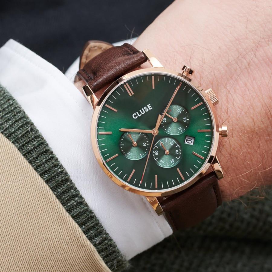CLUSE Aravis Roségoudkleurig/Brown Chronograaf horloge CW0101502006