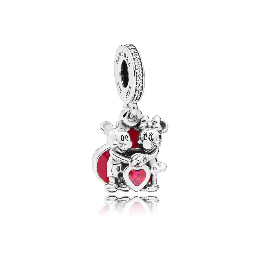 Pandora 925 Sterling Zilveren Disney Minnie and Mickey Heart Bedel 797769CZR