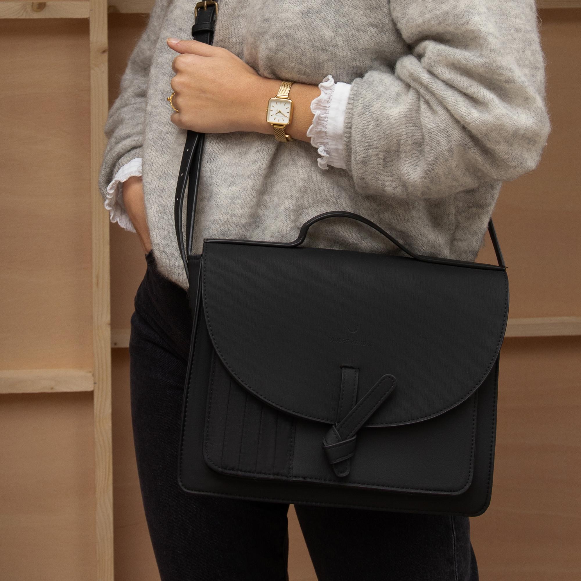 Violet Hamden Essential Bag Midnight Black Satchel VH21001